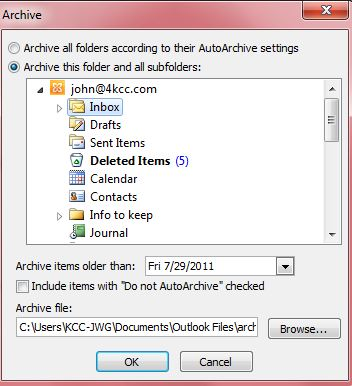 how to open archive outlook 2007